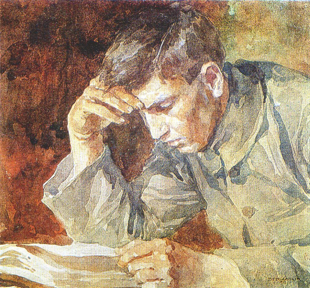 Reading young man на Cuadro de Ignat Bednarik